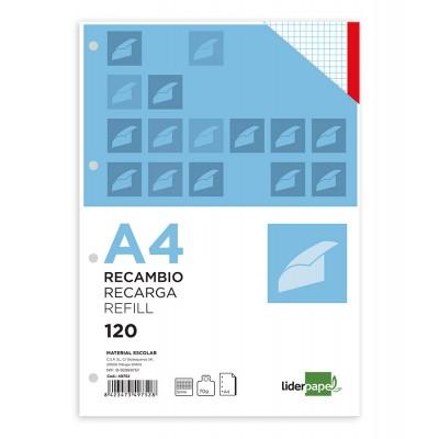 RECAMBIO LIDERPAPEL A4 120 HOJAS CUADRO